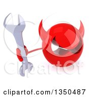 Clipart Of A 3d Red Devil Head Holding Up A Wrench Royalty Free Illustration