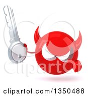 Clipart Of A 3d Red Devil Head Holding And Pointing To A Key Royalty Free Illustration