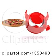 Clipart Of A 3d Red Devil Head Holding And Pointing To A Pizza Royalty Free Illustration
