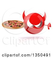 Clipart Of A 3d Red Devil Head Holding A Pizza And Giving A Thumb Down Royalty Free Illustration by Julos