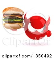 Clipart Of A 3d Red Devil Head Holding And Pointing To A Double Cheeseburger Royalty Free Illustration
