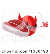 Clipart Of A 3d Red Devil Head Holding A Beef Steak And Jumping Royalty Free Illustration by Julos