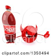 Clipart Of A 3d Red Devil Head Holding Up A Thumb And Soda Bottle Royalty Free Illustration by Julos