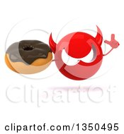 Clipart Of A 3d Red Devil Head Holding Up A Finger And Chocolate Glazed Donut Royalty Free Illustration by Julos