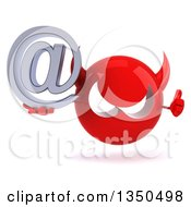 Clipart Of A 3d Red Devil Head Holding An Email Arobase At Symbol And Giving A Thumb Up Royalty Free Illustration by Julos