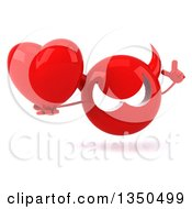 Clipart Of A 3d Red Devil Head Holding Up A Finger And A Love Heart Royalty Free Illustration by Julos