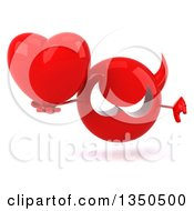 Clipart Of A 3d Red Devil Head Holding A Love Heart And Giving A Thumb Down Royalty Free Illustration by Julos