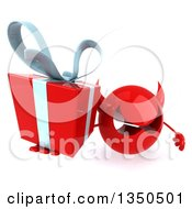 Clipart Of A 3d Red Devil Head Holding Up A Gift Royalty Free Illustration by Julos