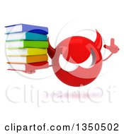 Clipart Of A 3d Red Devil Head Holding Up A Finger And Stack Of Books Royalty Free Illustration by Julos