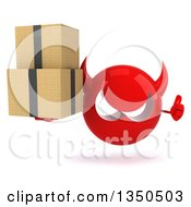 Clipart Of A 3d Red Devil Head Giving A Thumb Up And Holding Boxes Royalty Free Illustration by Julos
