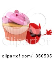 Clipart Of A 3d Red Devil Head Holding A Cupcake And Jumping Royalty Free Illustration by Julos