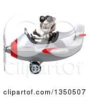 Clipart Of A 3d White Tiger Aviator Pilot Wearing Sunglasses Giving A Thumb Up And Flying A White And Red Airplane To The Left Royalty Free Illustration