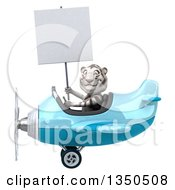 Clipart Of A 3d White Tiger Aviator Pilot Holding A Blank Sign And Flying A Blue Airplane To The Left Royalty Free Illustration