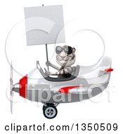 Clipart Of A 3d White Tiger Aviator Pilot Wearing Sunglasses Holding A Blank Sign And Flying A White And Red Airplane To The Left Royalty Free Illustration