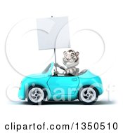 Clipart Of A 3d White Tiger Holding A Blank Sign And Driving A Light Blue Convertible Car To The Left Royalty Free Illustration