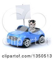Clipart Of A 3d White Tiger Wearing Sunglasses Holding A Blank Sign And Driving A Blue Convertible Car To The Left Royalty Free Illustration
