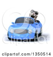 Clipart Of A 3d White Tiger Wearing Sunglasses And Driving A Blue Convertible Car Royalty Free Illustration