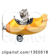 Clipart Of A 3d White Tiger Aviator Pilot Flying A Yellow Airplane To The Left Royalty Free Illustration