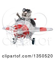Clipart Of A 3d White Tiger Aviator Pilot Wearing Sunglasses Giving A Thumb Up And Flying A White And Red Airplane Royalty Free Illustration