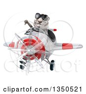 Clipart Of A 3d White Tiger Aviator Pilot Wearing Sunglasses Giving A Thumb Down And Flying A White And Red Airplane Royalty Free Illustration by Julos