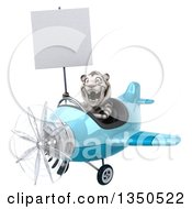 Clipart Of A 3d White Tiger Aviator Pilot Holding A Blank Sign And Flying A Blue Airplane To The Left Royalty Free Illustration by Julos