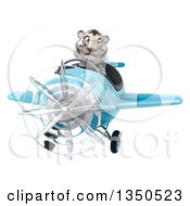 Clipart Of A 3d White Tiger Aviator Pilot Flying A Blue Airplane Royalty Free Illustration by Julos