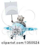 Clipart Of A 3d White Tiger Aviator Pilot Holding A Blank Sign And Flying A Blue Airplane Royalty Free Illustration by Julos