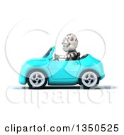 Clipart Of A 3d White Tiger Driving A Light Blue Convertible Car To The Left Royalty Free Illustration by Julos
