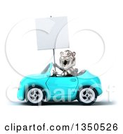 Clipart Of A 3d White Tiger Holding A Blank Sign And Driving A Light Blue Convertible Car To The Left Royalty Free Illustration by Julos