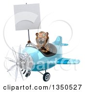 Clipart Of A 3d Tiger Aviator Pilot Holding A Blank Sign And Flying A Blue Airplane To The Left Royalty Free Illustration
