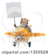 Clipart Of A 3d Tiger Aviator Pilot Holding A Blank Sign And Flying A Yellow Airplane Royalty Free Illustration