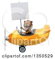 Clipart Of A 3d Tiger Aviator Pilot Holding A Blank Sign And Flying A Yellow Airplane To The Left Royalty Free Illustration
