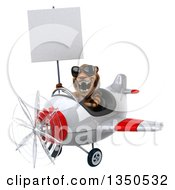 Clipart Of A 3d Tiger Aviator Pilot Wearing Sunglasses Holding A Blank Sign And Flying A White And Red Airplane To The Left Royalty Free Illustration