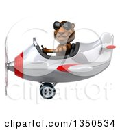 Clipart Of A 3d Tiger Aviator Pilot Wearing Sunglasses And Flying A White And Red Airplane To The Left Royalty Free Illustration