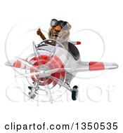 Clipart Of A 3d Tiger Aviator Pilot Wearing Sunglasses Giving A Thumb Up And Flying A White And Red Airplane Royalty Free Illustration