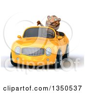 Clipart Of A 3d Tiger Giving A Thumb Down And Driving A Yellow Convertible Car Royalty Free Illustration