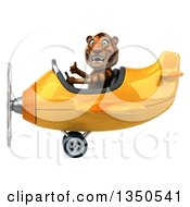 Clipart Of A 3d Tiger Aviator Pilot Giving A Thumb Up And Flying A Yellow Airplane To The Left Royalty Free Illustration