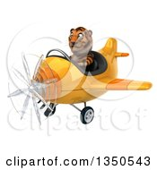 Clipart Of A 3d Tiger Aviator Pilot Flying A Yellow Airplane To The Left Royalty Free Illustration