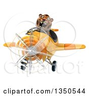 Clipart Of A 3d Tiger Aviator Pilot Flying A Yellow Airplane Royalty Free Illustration