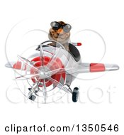 Clipart Of A 3d Tiger Aviator Pilot Wearing Sunglasses And Flying A White And Red Airplane Royalty Free Illustration