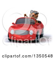 Clipart Of A 3d Tiger Wearing Sunglasses Giving A Thumb Down And Driving A Red Convertible Car Royalty Free Illustration
