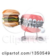 Clipart Of A 3d Metal Mouth Teeth Mascot With Braces Holding And Pointing To A Double Cheeseburger Royalty Free Illustration