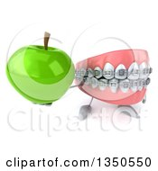 Clipart Of A 3d Metal Mouth Teeth Mascot With Braces Holding Up A Green Apple Royalty Free Illustration