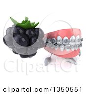 Clipart Of A 3d Metal Mouth Teeth Mascot With Braces Holding Up A Blackberry Royalty Free Illustration