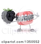 Clipart Of A 3d Metal Mouth Teeth Mascot With Braces Holding Up A Finger And A Blackberry Royalty Free Illustration
