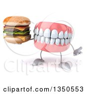 Clipart Of A 3d Mouth Teeth Character Holding A Double Cheeseburger And Shrugging Royalty Free Illustration