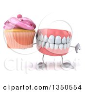 Clipart Of A 3d Mouth Teeth Character Holding A Cupcake And Giving A Thumb Down Royalty Free Illustration