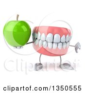 Clipart Of A 3d Mouth Teeth Character Holding A Green Apple And Giving A Thumb Down Royalty Free Illustration