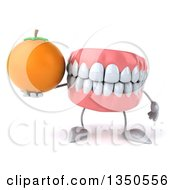Clipart Of A 3d Mouth Teeth Character Holding A Navel Orange Royalty Free Illustration