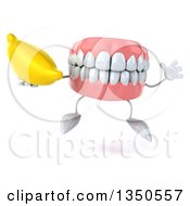 Clipart Of A 3d Mouth Teeth Character Holding A Banana And Jumping Royalty Free Illustration
